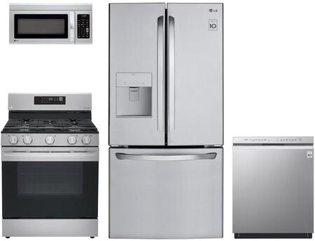 4 Piece Stainless Steel Kitchen Appliances Package with LFDS22520S 30″ French Door Refrigerator  LRE3194ST 30″ Electric Range  LMV1831ST 30″ OTR