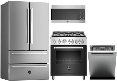 4 Piece Kitchen Appliances Package with REF36X 36″ French Door Refrigerator  MAST305GASNEE 30″ Gas Range (Matte Black)  KOTR30X 30″ Over the Range