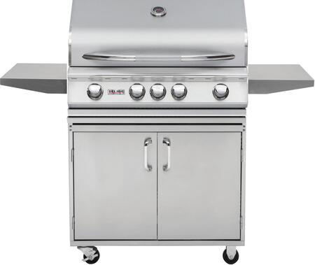 DSBQ32RL 32″ Liquid Propane Freestanding Grill with 304 Stainless Steel Construction  42000 BTU Max Heat Output  4 burners  Integrated Temperature