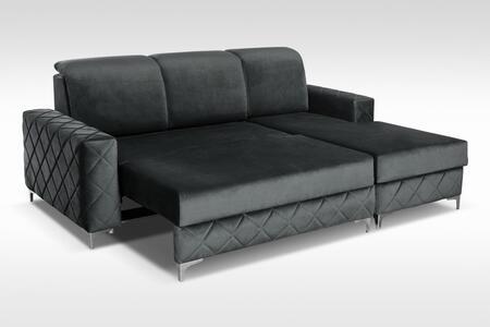Alfredo Collection ALFREDOMINILEFTGRAY Sectional Sofa in Gray
