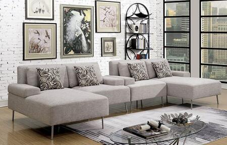 Furniture of America Bryn CM6341SET1 Sectional Sofa Gray, Main Image
