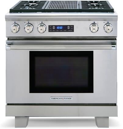 American Range Medallion ARR364GRDF Freestanding Dual Fuel Range Stainless Steel, Grill