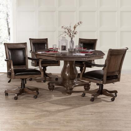 Kingston Collection 6401GTBC Freeport 5PC Game Table with 4 Caster Chairs and 1 Freeport Wood Octagonal Table in Weathered