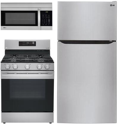 """3-Piece Kitchen Appliances Package with LTCS24223S 33"""" Top Freezer Refrigerator LRG3061ST 30"""" Gas Range and LMV1762ST 30"""" Over the Range Microwave"""