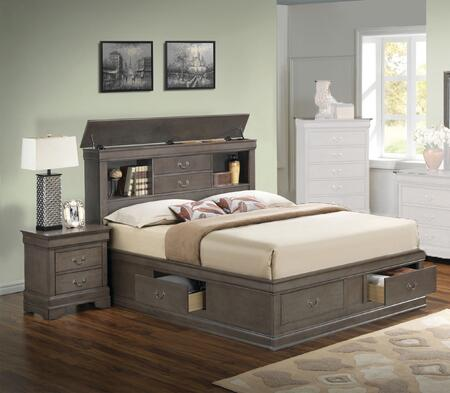 Glory Furniture G3105b Ksbedroomset 2 Piece Bedroom Set With King Size Storage Bed Single Nightstand In Grey Appliances Connection