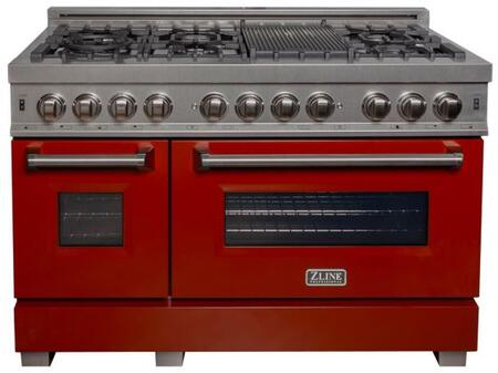 """RAS-RG-48 48"""" Red Gloss Professional Natural Gas Dual Fuel Range with 6 Italian Burners 6 cu. ft. Capacity Oven Griddle Cast Iron Grates and Dual"""
