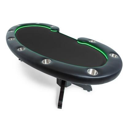 2BBO-LUM 102″ x 46″ Lumen HD LED Poker Table with Black Vinyl Armrest  Solid Wood Napa Pedestal Leg and 16 High-Quality Changeable LED Colors – Black