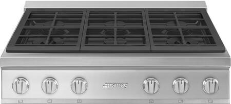 Smeg Portofino RTU366GX Gas Cooktop Stainless Steel, RTU366GX Rangetop