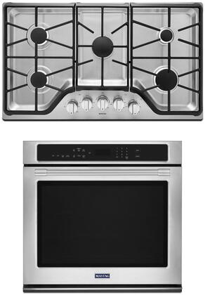 2 Piece Kitchen Appliances Package with MEW9530FZ 30″ Electric Single Wall Oven and MGC9536DS 36″ Gas Cooktop in Stainless