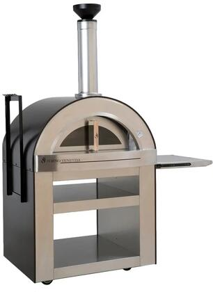 FVTOR500-C Torino Freestanding Pizza Oven with 32″ x 24″ cooking Surface  Fire Brick Hearth  Designer Chimney Cap  Stainless Steel Cart  in