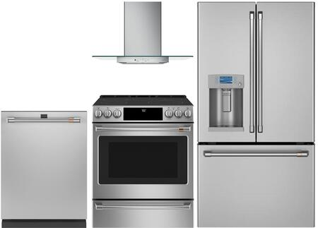 4 Piece Kitchen Appliances Package with CYE22TP2MS1 36″ French Door Refrigerator  CGS700P2MS1 30″ Slide-in Gas Range  CVW73012MSS 30″ Wall Mount