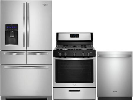 """3 Piece Kitchen Appliance Package with WRV976FDEM 36"""""""" French Door Refrigerator  WFG505M0BS 30"""""""" Gas Freestanding Range and WDT730PAHZ 24"""""""" Built In Fully -  Whirlpool, 995366"""