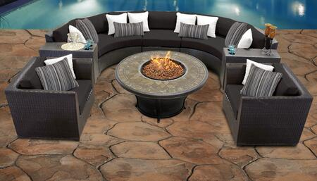 Barbados Collection BARBADOS-08f-BLACK Barbados 8-Piece Patio Set 08f with 1 Armless Chair   2 Cup Table   2 Curved Armless Chair   2 Club Chair   1