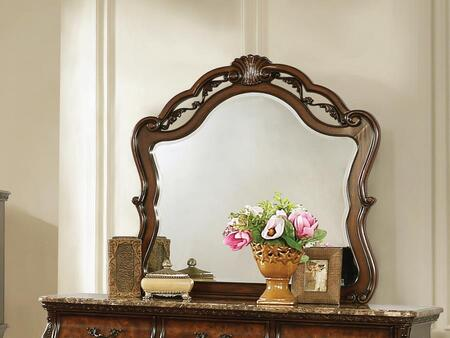 Exeter Collection 222754 41.75″ Mirror with Open Carved Crown Design  Frame is Made of Solid Poplar and Burl Wood Veneer in Dark Burl