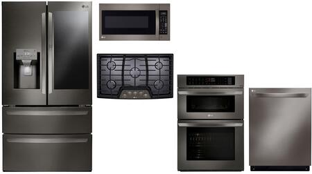 Lg 5 Piece Kitchen Liances Package With Lmxs28596d 36 Inch French Door Refrigerator Lwc3063bd 30 Electric Double Wall Oven Microwave Combo Lcg3611bd Gas Cooktop Ldt5678bd 24 Built In Dishwasher And