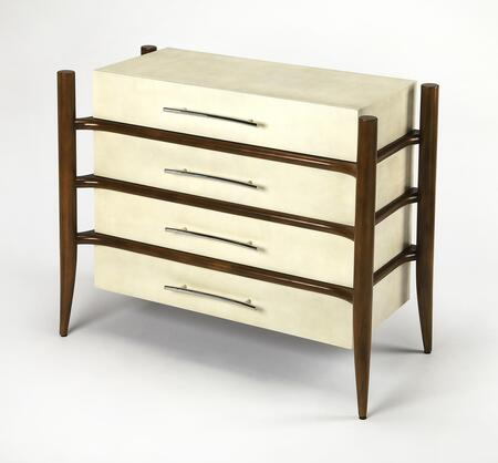 Revo Collection 3779350 Console Chest with Modern Style  Rectangular Shape  Solid Wood and Leather Uphlostery in Cosmopolitan