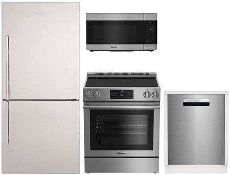 "4 Piece Kitchen Appliances Package with BRFB1812SSN 30"" Bottom Freezer Refrigerator BERU30420SS 30"" Electric Range BOTR30100SS 30"" Over the Range"