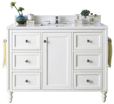 Copper Cove Encore Collection 301-V48-BW-3OCAR 48″ Single Vanity  Bright White with 3 CM Carrara White Top with Oval