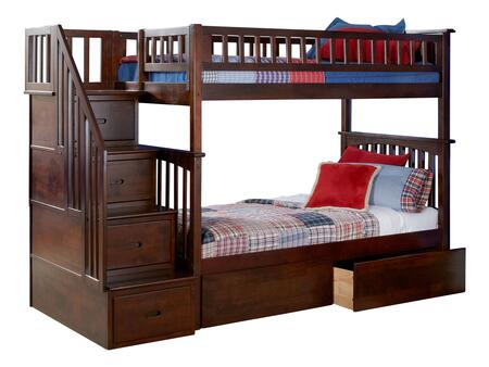 AB55644 Columbia Staircase Bunk Bed Twin over Twin with 2 Urban Bed Drawers in