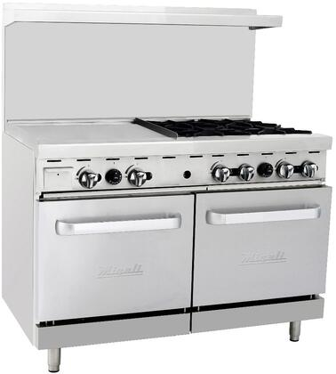 """C-RO4-24GL-LP 48"""" Liquid Propane Range with 4 Burners 24"""" Griddle and Double Ovens in Stainless"""