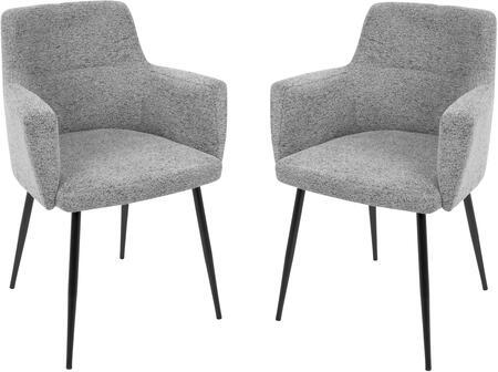 LumiSource Andrew CHANDRWBKGY2 Dining Room Chair Gray, CHANDRWBKGY2 set