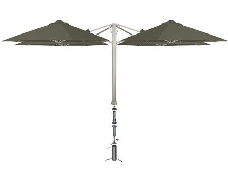 Shadowspec SU6 Series KITP6SQ25QTOGATPEA Outdoor Umbrella Gray, Taupe