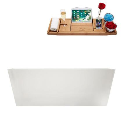 M-2241-59FSWH-FM 59″ Soaking Freestanding Tub and tray With Internal Drain in