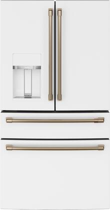 Cafe  CVE28DP4NW2 French Door Refrigerator White, Front View