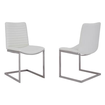 April Collection LCAPSIBSWH Set of 2 Dining Chairs with Bucket Seat Design  Contemporary Style  Brushed Stainless Steel Frame and Faux Leather