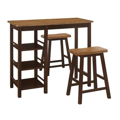 526908 Tampa 3 Piece Bar Height Table And Stools  in Wenge Distressed Top and Espresso