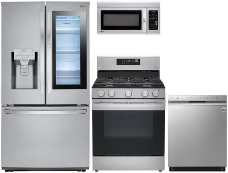 4 Piece Kitchen Appliances Package with LFXC22596S 36″ French Door Refrigerator  LRE3194ST 30″ Electric Range  LMV1831ST 30″ Over the Range Microwave