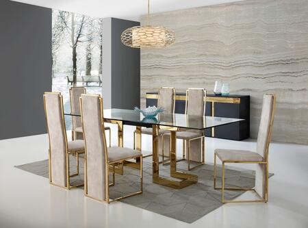 Sumo Collection DT1658BLKSET 8 PC Dining Room Set with Dining Table  Buffet and 6 Side Chairs in Gold