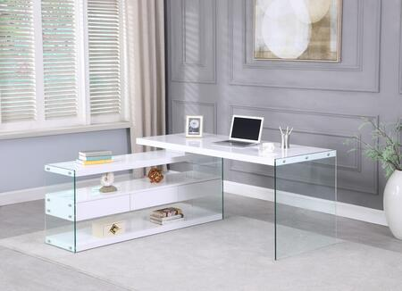 6902-DSK Rotatable Wooden Desk with 3 Drawers and 3 Shelves in