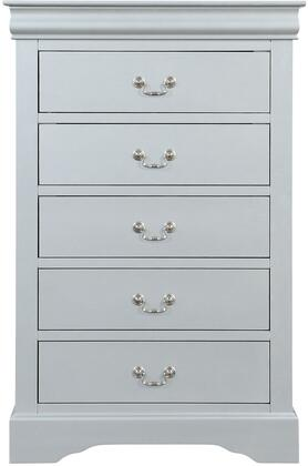Acme Furniture Louis Philippe 26736 Chest of Drawer White, Front View