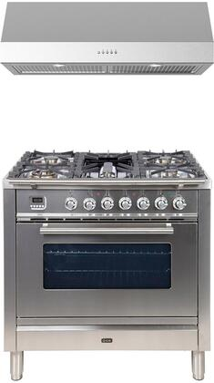 2 Piece Kitchen Appliances Package with UPW90FDMPI 36″ Dual Fuel Gas Range and LUCCA36 36″ Under Cabinet Convertible Hood in Stainless