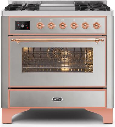 UM09FDNS3SSP 36″ Majestic II Series Dual Fuel Natural Gas Range with 6 Burners and Griddle  3.5 cu. ft. Oven Capacity  TFT Oven Control Display