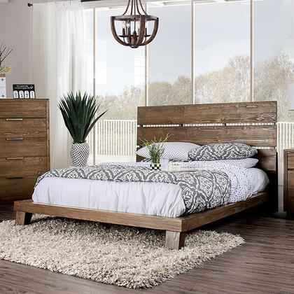 Tolna Collection CM7532 Queen Bed With Slatted Headboard  Wooden Block Legs And Deep Wood Grain In