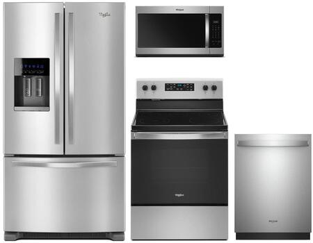 4 Piece Kitchen Appliances Package with WRF555SDFZ 36″ French Door Refrigerator  WFE505W0JZ 30″ Electric Range  WMH31017HZ 30″ Over the Range