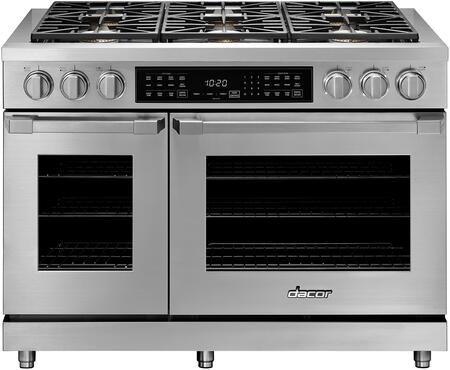 """Dacor Professional HDPR48SNG Freestanding Dual Fuel Range Stainless Steel, HDPR48SNG 48"""" Heritage Series Natural Gas Dual Fuel Pro Range"""