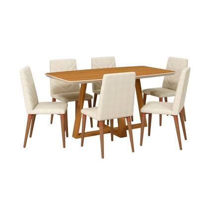 Duffy and Utopia Collection 2-1018451109251 7 PC Dining Set with Contemporary Modern Style  Medium-Density Fiberboard (MDF) Frame  Pine Wood Feet and