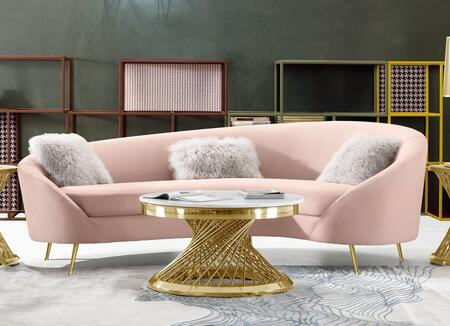 """Celine_Collection_CELINESOPN_99""""_Curved_Sofa_with_Contoured_Back_in_Velvet_Upholstery__Piped_Stitching_and_Gold_Stainless_Steel_Legs_in_Blush"""