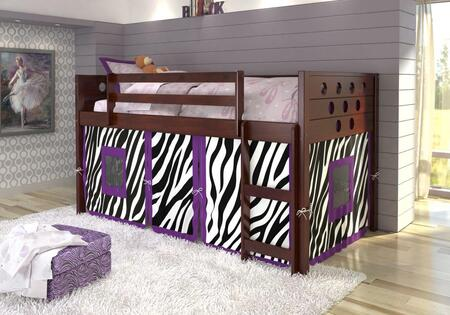 780A-TCP-750C-TZ 79″ Low Loft with Zebra Colored Tent  Built in Ladder  Circle Cut Out Design Headboard and Footboard in Dark