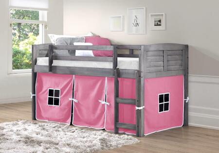 790-AAG-750C-TP 78″ Twin Louver Low Loft Bed with Built in Ladder  Pink Tent  Panel Headboard and Footboard in Antique