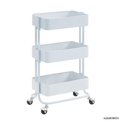 Linon AJUCARTWHT01 Serving Carts, AJUCARTWHT01 Three Tier White Cart Front