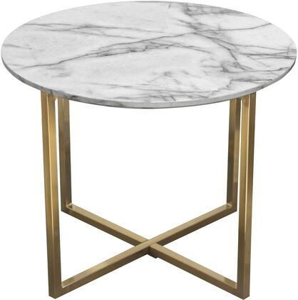 """Vida_Collection_VIDAETMA_24""""_Round_End_Table_with_Faux_Marble_Top__MDF_Material__Brushed_Gold_Metal_Frame_and_Contemporary_Style_in_White_and"""