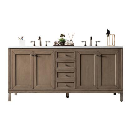 "Chicago 305-V72-WWW-3AF 72"" Double Sink Vanity with 3CM Arctic Fall Solid Surface Top and Rectangular Base in White Washed Walnut"