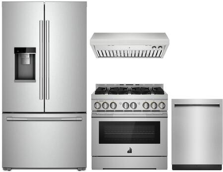 4 Piece RISE Series Kitchen Appliances Package with JFFCC72EHL 36″ French Door Refrigerator  JGRP436HL 36″ Gas Range  JXU9136HP 36″ Under Cabinet