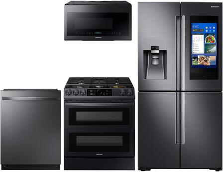 4 Piece Kitchen Appliances Package With Rf28n9780sg 36 French Door Refrigerator Ny63t8751sg 30 Smart Slide In Dual Fuel Range Me21m706bag 30 Over The Range Microwave And Dw80r7061ug 24 Built In Dishwasher In Black Stainless