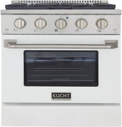 KNG301-W 30″ White Freestanding Natural Gas Range with 4 Burners  4.2 cu. ft. Capacity Oven  Manual Convection Cooking Mode  Blue Porcelain Oven