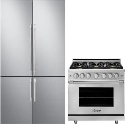 2 Piece Kitchen Appliances Package with DRF427500AP 42″ French Door Refrigerator and HGPR36SNGH 36″ Gas Range in Stainless